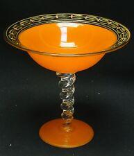 FASHIONABLE ANTIQUE ART DECO ORANGE GLASS HAND PAINTED RIM TAZZA COMPOTE
