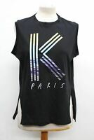 KENZO Ladies Black Cotton Sleeveless Crew Neck Paris Print Vest Top Size Small