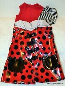 "Madame Alexander 18"" Rainy Day Red Raincoat Top & Black Striped Pants"