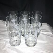 8 Vintage Clear Tumblers Water Glasses with Etched White Flowers Design EUC