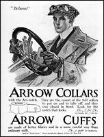 1910 Man automobile Belmont Arrow collars & cuffs vintage art print ad ads59