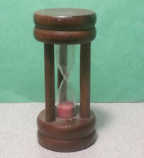 NEVCO Hong Kong 3 Minute Hourglass Sandglass Pink Brown Wood Stand