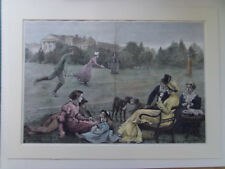 TENNIS  WIMBLEDON LARGE 1881 ANTIQUE PRINT HAND COLOURED MOUNTED 37x54cm