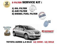 FOR TOYOTA AURIS 1.4 D4D DIESEL 12/2008-2012 OIL AIR FUEL FILTER SERVICE KIT