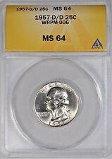 1957-D/D Washington Silver Quarter Anacs MS-64 WRPM-006 Repunched Mintmark