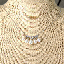 #C168 Fin Collier  Argent Massif 925 Perles