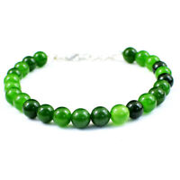 93.00 Cts Natural 7 Inches Long Green Jade Round Shape Beads Bracelet NK 18E110