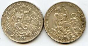 Peru 1934  Un sol Silver Coin BU LUSTER UNCLEANED