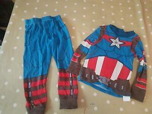 Ropa Hombre de Algodon Regalos Para Hombre y Chico Adolescente Conjunto de 2 Piezas Con Estampado del Escudo Capitan America Marvel Pijama Hombre Verano