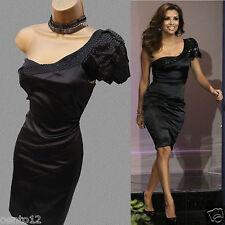 KAREN MILLEN Black One Shoulder Beaded Cocktail Pencil Dress 10 UK Eva Longoria
