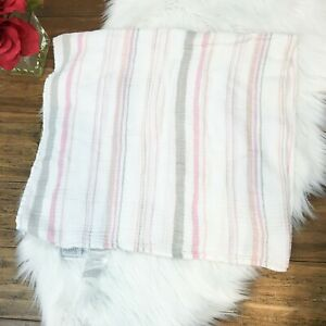 """Aden + Anais Girls Baby Infants Pink Striped Swaddle Wrap Blanket 43"""" x 41"""""""