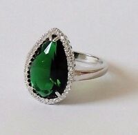 925 STERLING SILVER  CHUNKY TEARDROP GREEN EMERALD  size Q 1/2