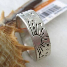 Thick Tibetan White Copper Delicate Carved Star Sun Dotted Ring