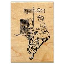 LADY PIANIST COLLAGE large mounted music rubber stamp, piano, organ #10