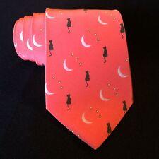 Center Street Tie Makers Bespoke Necktie 100% Silk Coral Pink Cat & Moon New