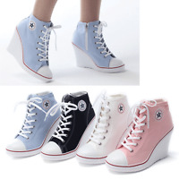 Womens Canvas Shoes High Top Wedge Ankle Boots Heel Lace Up Fashion Sneakers