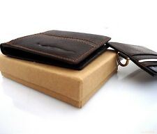 Men's Natural Leather Wallet 6 Credit Card Slots 2 id Windows 2 Bill Compartment