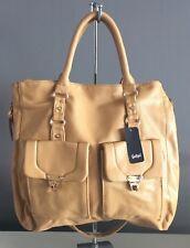 NWT Light Tan SPORTSGIRL Large PU Tote/Shoppe Bag w Shoulder Strap