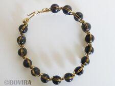 "Egyptian Style Handmade Bracelet-Dark Blue Goldstone-Brass Wire Wrapped-8.0"""