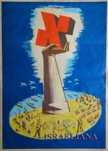 """Extremely Rare Election Old Poster מפא""""י Israel 1940-50 Jewish Art Advertisement"""