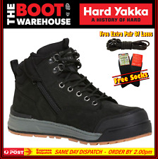 Hard Yakka 3056 Y60201 Work Boots. BLACK. Steel Cap Safety. Lace-Up & Zip Side