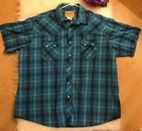 Wrangler Western Pearl Snap Shirt Rodeo Cowboy Double Pocket Blue Mens XXL