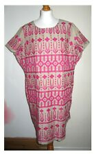 PER UNA SHIFT DRESS, SHORT SLEEVED WITH PINK EMBROIDERED DETAIL  SIZE 22 UK