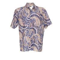 Herren Hemd Größe M Kurze Ärmel Shirt Retro Vintage Paisley Muster Freizeit