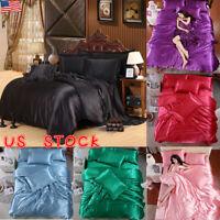 Silk Satin Duvet Cover Silky Bedding Set 4pcs Fitted Sheet Pillow Cases Cushion
