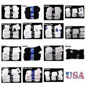 Men Women Sports Athletic Socks 9-11 10-13 Cotton Crew Ankle Low Cut No Show