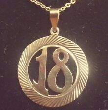 "Vintage 14K Solid Gold Number 18  Round Charm / Pendant 1""  in diameter"