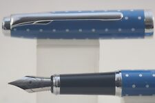 LingMo/Lorelei Light Blue Polka Dot Fine Fountain Pen with Chrome Trim, Cased