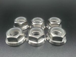 6X Titanium Ti M10x1.25mm Pitch Sprocket Flange Lock Nut For Motorcycle Bike