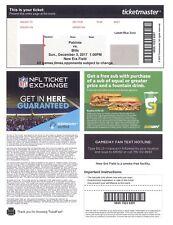 New England Patriots @ Buffalo Bills 2017 e- ticket PDF stub Topps HOF Tom Brady