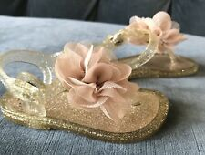 Trimfoot Co Baby Shoes Toddler Girl Sz 4 Sandals Glitter Gold Flower New