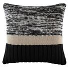 Kas Flec black cushion cover size 50cm x 50cm natural/black acrylic knit