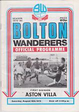 Programma / Programme Bolton Wanderers v Aston Villa 18-8-1979
