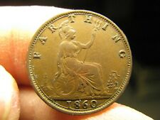 1860 GREAT BRITAIN FARTHING - HIGH GRADE - DOUBLE  DATE