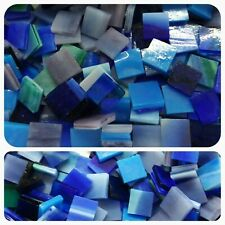 """100 - 1/2"""" Mosaic Tiles Stained Glass Mixed Blue"""