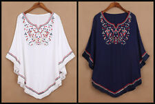 Embroidered Cotton Travel Ethnic Peasant Indian Light Blouse Top Loose Batwing