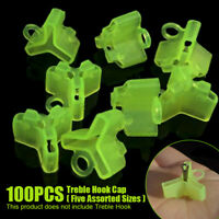 100Pcs Assorted Fishing Treble Hooks Safety Covers Bonnets Fishhook Caps Tools