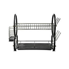 Stainless Steel Two Tier Dish Drainer With Cutlery Drainer & Glass Rack, Black