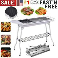 Large Folding BBQ Charcoal Barbecue Grill Garden Picnic Cooking Stainless Steel