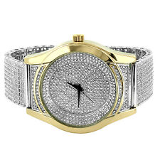 2 Tone Mens Watch Hip Hop Simulated Diamonds Gold Finish Fully Iced Out Bling