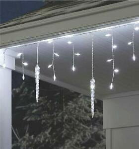 8 Ft. White Shooting Star Icicle LED String Light with Cascading Lights 75 Count