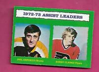 1973-74 OPC # 134 PHIL ESPOSITO + BOBBY CLARKE LEADERS NRMT+ CARD (INV# D4313)