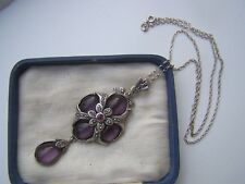GORGEOUS VINTAGE SOLID STERLING SILVER AMETHYST RUBY MARCASITE LAVALIERE PENDANT