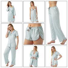 Ladies Aqua Satin Chemise Short Slip Nighty PJs Set Bathrobe size 8 - 32