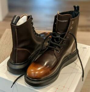 $720 Mens Alexander McQueen Burnished Leather Boots Brown/Burnt Orange 42 US 9
