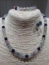 Ladies necklace bracelet earrings set Fluorite & Amethyst Gemstones Silver FQli